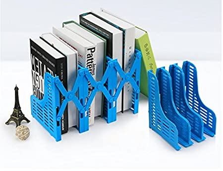 Laylala Adjustable Desktop Bookends Retractable Bookend Frame Adjustable Magazine//File Holders Desktop Organizer Library School Office Supply Blue 3 Slot Bookshelf