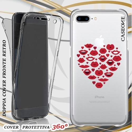 CUSTODIA COVER CASE HEART MOUTH PER IPHONE 7 PLUS FRONT BACK TRASPARENTE