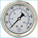 LIQUID FILLED PRESSURE GAUGE, 2.5' DIAL DISPLAY, STAINLESS STEEL CASE, BRASS INTERNALS, 1/4' MALE NPT BACK MOUNT CONNECTION, DUAL SCALE PSI & BAR (0 - 1,500 PSI)