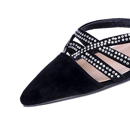 Amoonyfashion Donna Fibbia Punta Chiusa Con Gattini Tacco Sandalo Sandalo Solido Nero