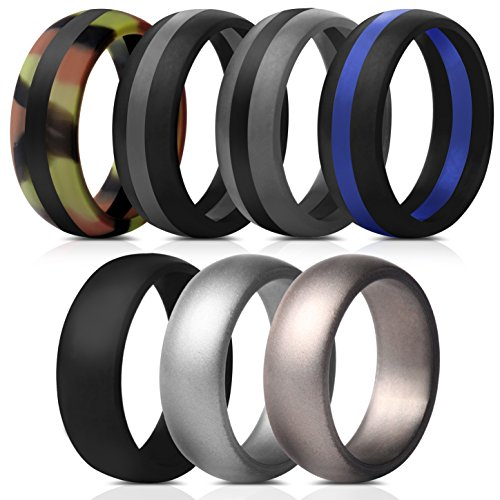 Mens Silicone Rings Wedding Bands - 7 Pack (Middle Line Black Blue Gray, Camo Black, Silver, Dark Silver, Black, 10.5 - 11 (20.6mm))