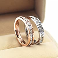 Promsup Silver/Rose Gold CZ Titanium Steel Ring Men/Womens Stainless Wedding Band Sz5-10 (8 Silver)