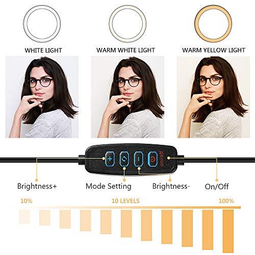 OneAmg LED Selfie Ringlicht, Selfie Ringleuchte Stativ mit Fernbedienung, 10\