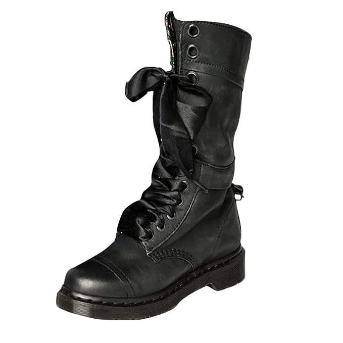 MYMYG Zapatos de Mujer Denim Botas Altas de Vaquero Romano de Mujer Botas Largas Militar Tacones Mujer Calientes Seguridad Zapatillas-Cordones: Amazon.es: ...