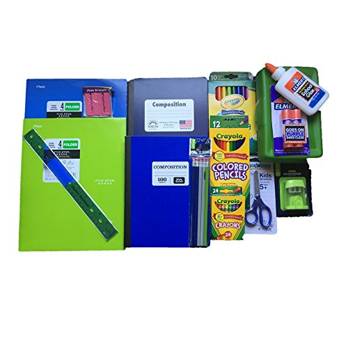 Back to School Supplies Bundle Includes Crayola Markers/Colored Pencils/Crayons, Elmers Glue/Glue Stick, Composition Books Wide Ruled, Pencil Box, Five Star Foldrs and more.