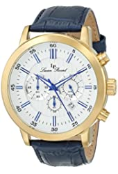 Lucien Piccard Men's 12011-YG-023S Monte Viso Chronograph White Textured Dial Dark Blue Leather Watch
