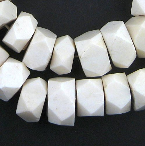 White Bone Beads - Full Strand of Fair Trade African Beads - The Bead Chest (Faceted, White)