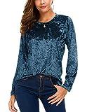 Urban CoCo Women's Vintage Velvet T-Shirt Casual Long Sleeve Top (XL, Blue)