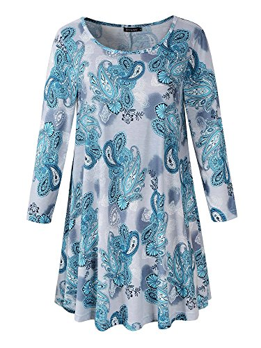 Veranee Women's Plus Size Swing Tunic Top 3/4 Sleeve Floral Flare T-Shirt (X-Large, 16-8)