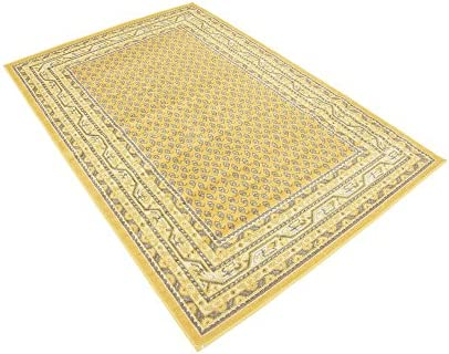 Unique Loom Williamsburg Collection Traditional Border Yellow Area Rug 4' 0 x 6' 0