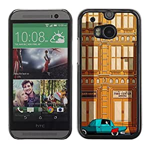 LECELL--Funda protectora / Cubierta / Piel For HTC One M8 -- Deco Car Brown Teal City Building --