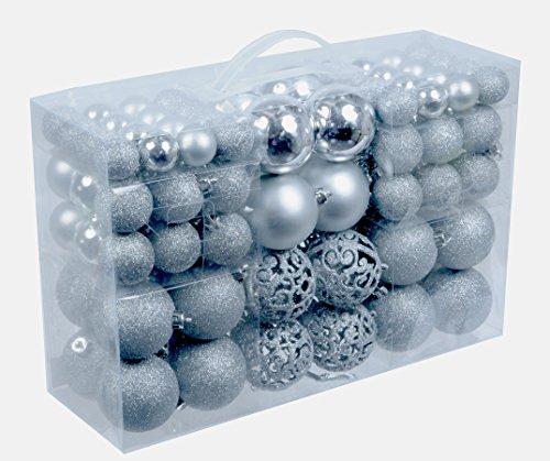 100 Weihnachtskugeln Silber glänzend glitzernd matt Christbaumschmuck bis Ø 6 cm Baumschmuck Weihnachten Deko Anhänger