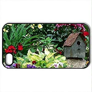 Birdhouse in the garden - Case Cover for iPhone 4 and 4s (Watercolor style, Black)