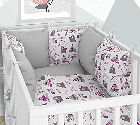 Sechs Kissen samt Bez/ügen f/ür das Babybett 70 x 140 cm Kissen-Nestchen