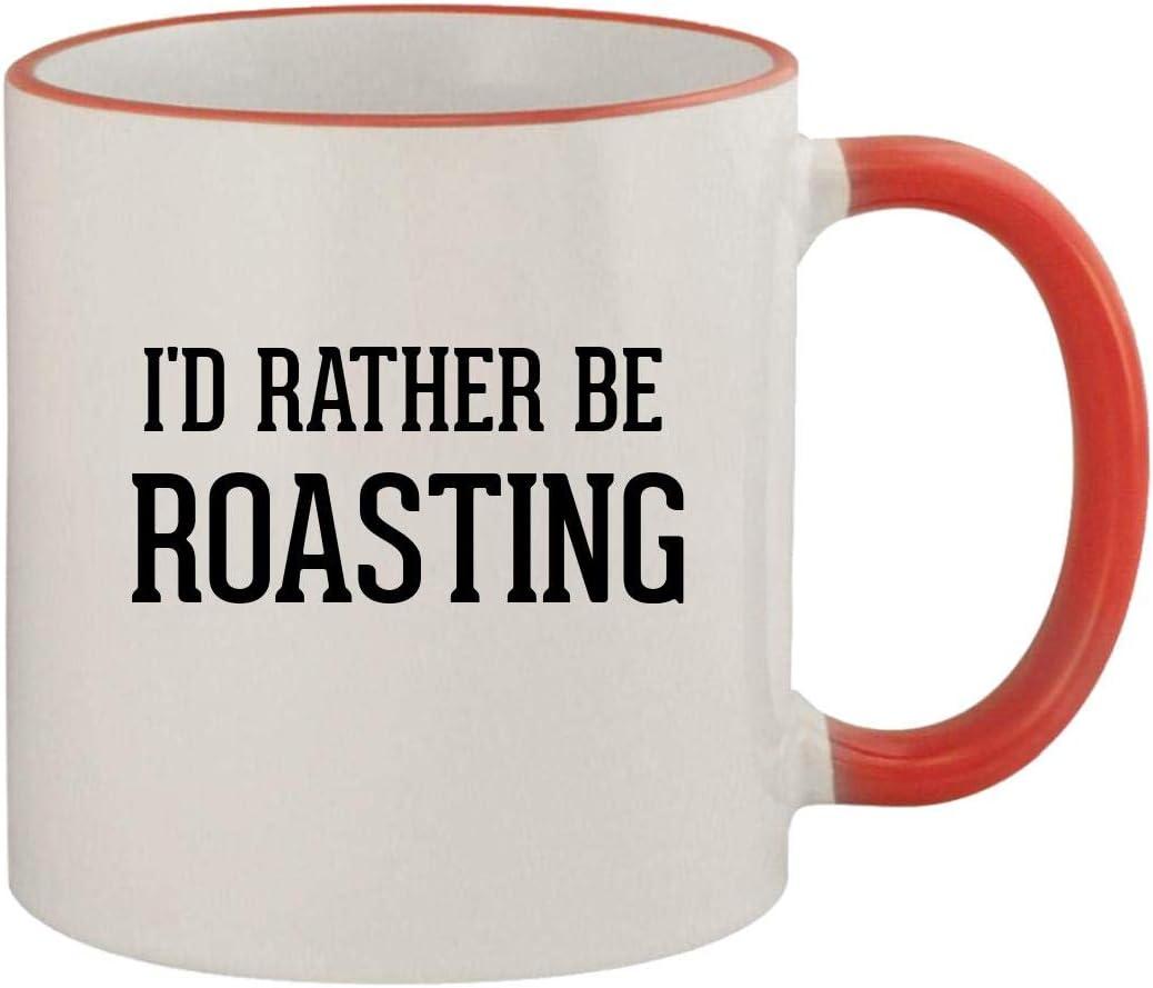 I'd Rather Be ROASTING - 11oz Ceramic Colored Rim & Handle Coffee Mug, Red