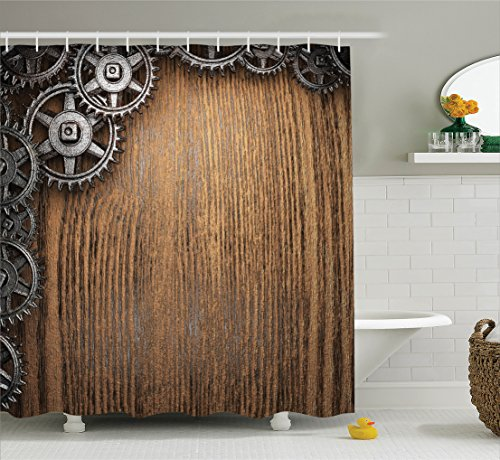 Ambesonne Industrial Decor Collection, Gear Wheels on top Left Corner Timber Design Mechanical Mechanism Engine Style, Polyester Fabric Bathroom Shower Curtain Set with Hooks, Peru Wood Dimgrey ()