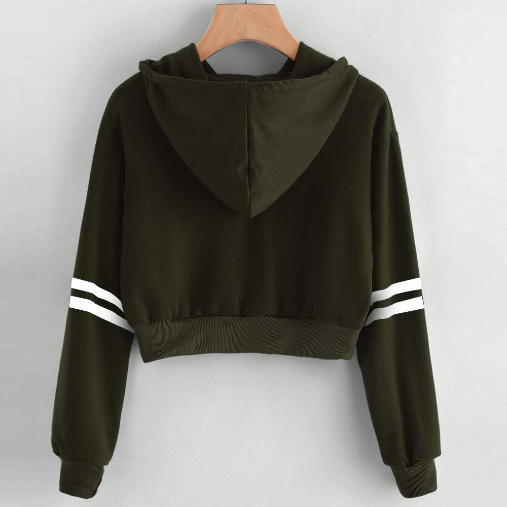 Fashion Womens Double Striped Drawstring Crop Hoodie Sweatshirt Jumper Pullover Crop Tops Funnygals