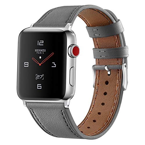 Tobfit Leather Bands Compatible with Apple Watch Band 38mm 40mm 42mm 44mm Women Men, Top Grain Leather Wristband, Gray, 38mm/40mm