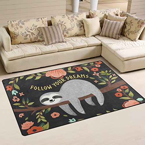 Yochoice Non-slip Area Rugs Home Decor, Hipster Cute Baby Sloth Tree Floral Flowers Floor Mat Living Room Bedroom Carpets Doormats 60 x 39 inches