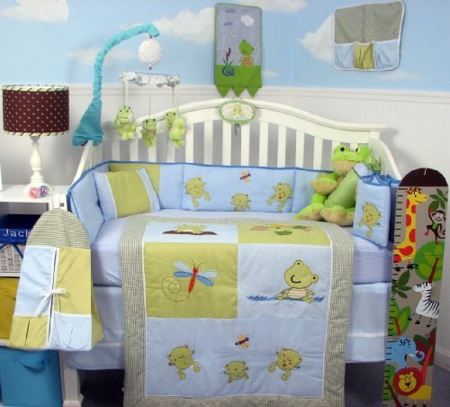 SoHo Adorable Froggy Baby Crib Nursery Bedding Set 14 pcs included Diaper Bag with Changing Pad, Accessory Case & Bottle Case by SoHo Designs