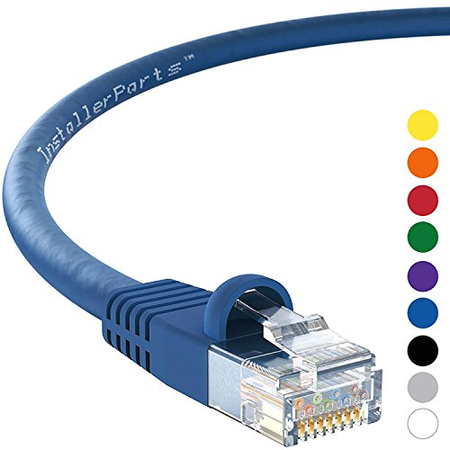 InstallerParts (10 Pack) Ethernet Cable CAT5E Cable UTP Booted 15 FT - Blue - Professional Series - 1Gigabit/Sec Network/Internet Cable, 350MHZ