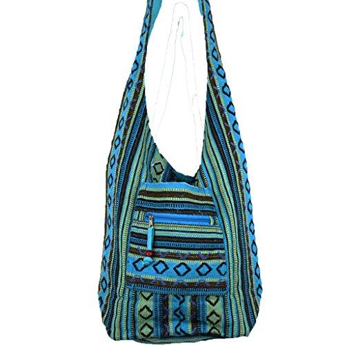 azul de al Bolso hombro Caravan algodón para mujer 5vq0UWwtx
