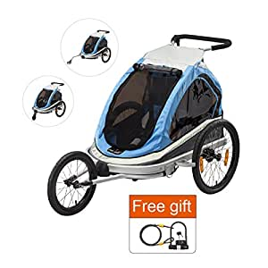 Via Velo Premium Montalban Elite 4-in-1 Bike Trailer with High Visibility when riding at night, Stroller, Jogger and Cargo,Plus free gift( U lock with cable)