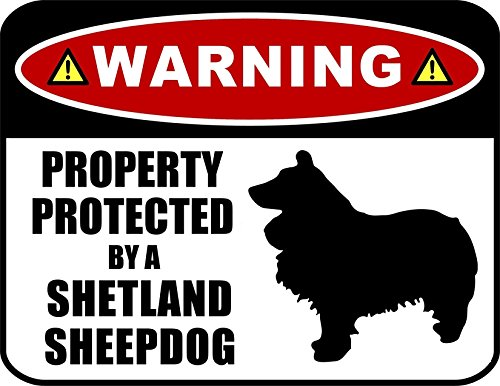 tected by a Shetland Sheepdog (SILHOUETTE) 11.5 inch x 9 inch Laminated Dog Sign ()