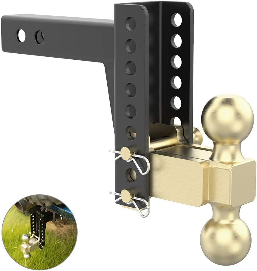 5-1//4-Inch Rise 10,000 lbs 6-Inch Drop Fits 2 Receiver SANHIMA Adjustable Trailer Hitch Ball Mount 2-Inch and 2-5//16-Inch Tow Balls