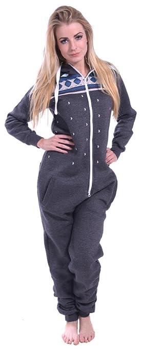 fb2929326595 Womens Onesie Fashion Playsuit Ladies Jumpsuit Heaven Charcoal XL