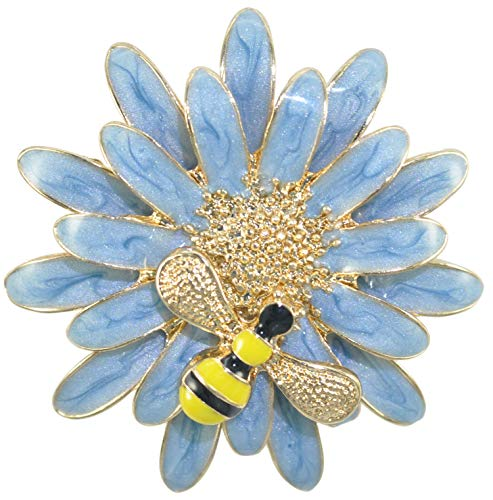 (Gyn&Joy Beautiful Enamel Sun Flower Daisy Honey Bee Insect Brooch Pin Women Jewelry Accessories Collar Pin (Blue))