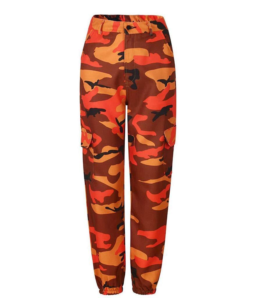 Size XL FAIYIWO Women Fashion Pants Spring Autumn Winter Casual Loose Camouflage Cargo Pants Trousers FAIYIWO Red