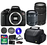 Canon T6i DSLR Camera +18-55mm IS STM Lens +EF 75-300mm f/4-5.6 III Lens + 32 GB SDHC Memory Card + Front Lens Cap + Rear Lens Cap + Strap + Camera Case - International Version