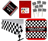 nascar birthday supplies - Racing Party Tableware Decorations Pack (144 Flag Food / Cupcake Picks, 8 Race Fan Car Checkered Flag Dinner Plates, 16 Luncheon Napkins, 1 Check Tablecover, Bonus Bag),