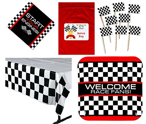 Racing Party Tableware Decorations Pack (144 Flag Food / Cupcake Picks, 8 Race Fan Car Checkered Flag Dinner Plates, 16 Luncheon Napkins, 1 Check Tablecover, Bonus Bag), (Race Car Plates compare prices)