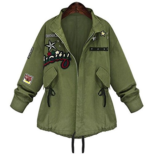 Spring Autumn Women Bomber Jacket Tops Long Sleeve Slim Turn-Down Collar Outwear Women Basic Coat Size : XXL (Gucci Canvas Hat)