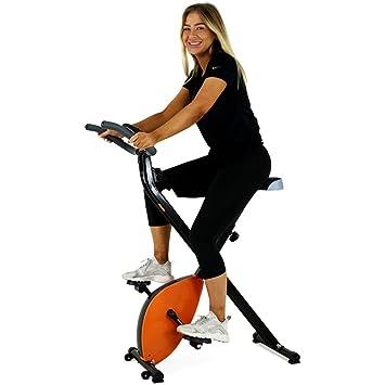 BAKAJI Bicicleta estática Plegable magnético con Pantalla Digital LCD para Fitness y Gimnasio Bicicleta Sport Salvaspazio