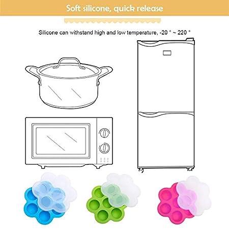 Symboat R/écipient r/éutilisable de stockage de plat de moule de nourriture doeuf de silicone avec le couvercle pour les accessoires instantan/és de pot