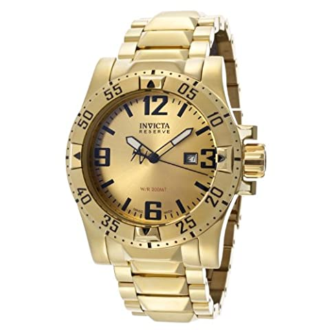 Invicta Men's 14036 Excursion Reserve Gold Tone Dial 18k Gold Ion-Plated Stainless Steel Watch (Invicta Reserve Excursion Gold)
