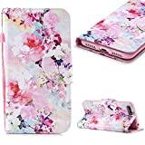 Cistor Wallet Case for Huawei Y6 2018/Honor 7A ,Fancy 3D Painting Magnetic Closure Flip Cover Shockproof PU Leather Stand Protective Case with Wrist Strap Card Slot for Huawei Y6 2018/Honor 7A ,Watercolor Flowers