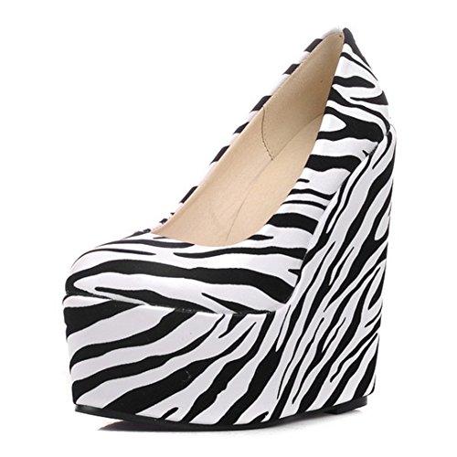 Easemax Womens Trendy Zebras Round Toe Low Top High Platform Wedge Heel Pumps Shoes White tUtX3j