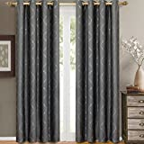 Pair of Two Top Grommet Curtain Panels. A Meek Elegant and Contemporary design Laguna Jacquard Draperies. , Steel, Set of Two 52