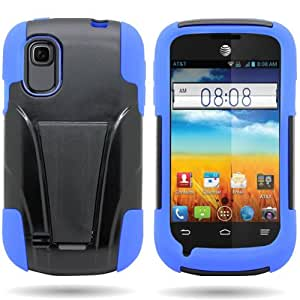 CoverON® HYBRID Dual Heavy Duty Hard PC Case and Silicone Cover with Kickstand for ZTE Prelude / Avail 2 (Blue Black)