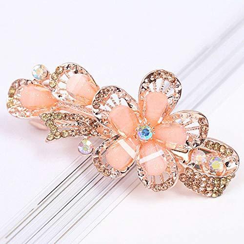 Fashion Women Girls Crystal Rhinestone Flower Barrette Hair Clip Clamp Hairpin (ColorID - White)