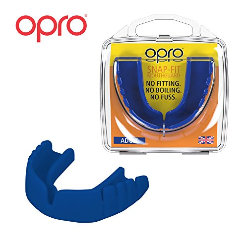 OPRO Mouthguard Snap-Fit Gum Shield for Ball, Combat and Stick Sports - No Boiling or Fitting Required -18 Month Warranty (Adult, Blue)