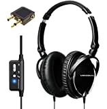 Active Noise Cancelling Headphones with Mic, MonoDeal Overhead Strong Bass Earphones, Folding and Lightweight Travel Headset with Carrying Case (Black)