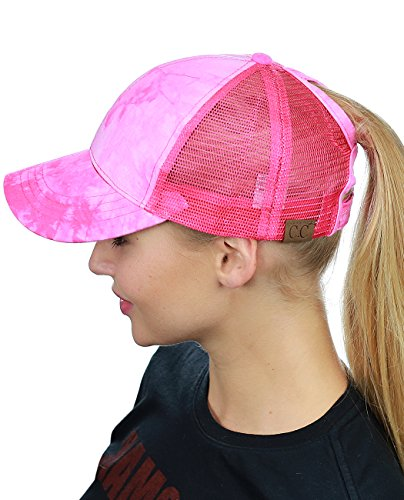 - C.C Ponycap Messy High Bun Ponytail Adjustable Mesh Trucker Baseball Cap Hat, Tie Dye Hot Pink