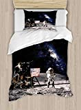 Twin XL Extra Long Bedding Set,Galaxy Duvet Cover Set,Astronaut on Rocky Surface of Moon American Flag USA Rocket Traveling Space Art,Include 1 Flat Sheet 1 Duvet Cover and 2 Pillow Cases