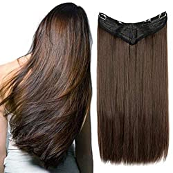 V-Shaped Hair Extensions One Piece U part Synthetic Straight Curly Wave Clips in Hairpiece