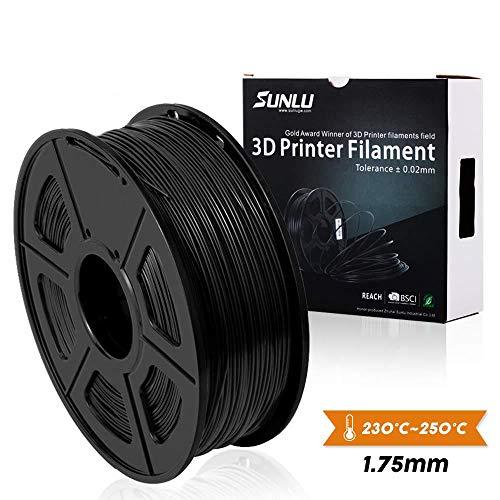 (SUNLU 1.75mm PETG 3D Printer Filament, Dimensional Accuracy +/- 0.02mm, 2.2 LBS (1KG) Spool,1.75 mm PLA 3D Filament for Most 3D Printer & 3D Printing Pen, PETG Black)